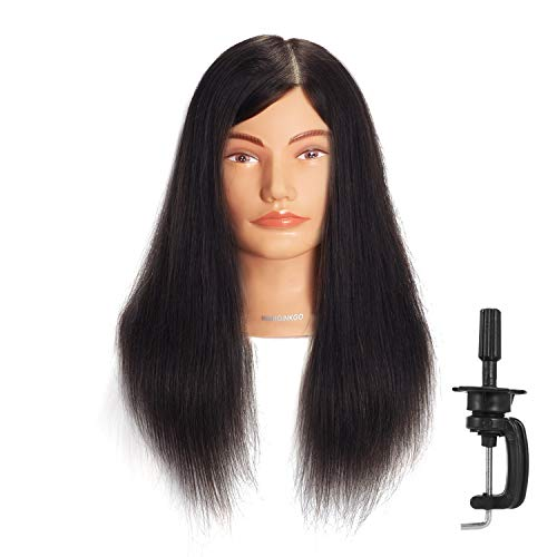 """Hairginkgo Mannequin Head 20""""-22"""" Human Hair Manikin Head Hairdresser Training Head Cosmetology Doll Head for Styling Dye Cutting Braiding Practice with Clamp Stand (92019D0214)"""
