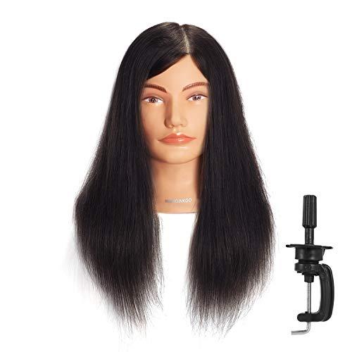 Cabeza de maniquí Hairginkgo de 51-56 cm cabeza de maniquí 100{733290a7c36df7dbc179f641f32bbafadd8dd1454b8b5f7bd2f5049c08a2b8f9} cabello humano, cabeza de maniquí para entrenamiento, cosmetología cabeza de muñeca para estilismo y teñido (92019D0214)