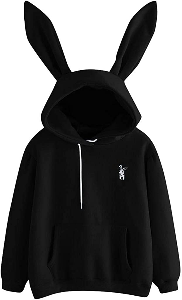 Haheyrte Hoodies for Womens Long Sleeve Cute Rabbit Ear Hooded Casual Sweatshirts Pullover Tops Shirts Sweaters