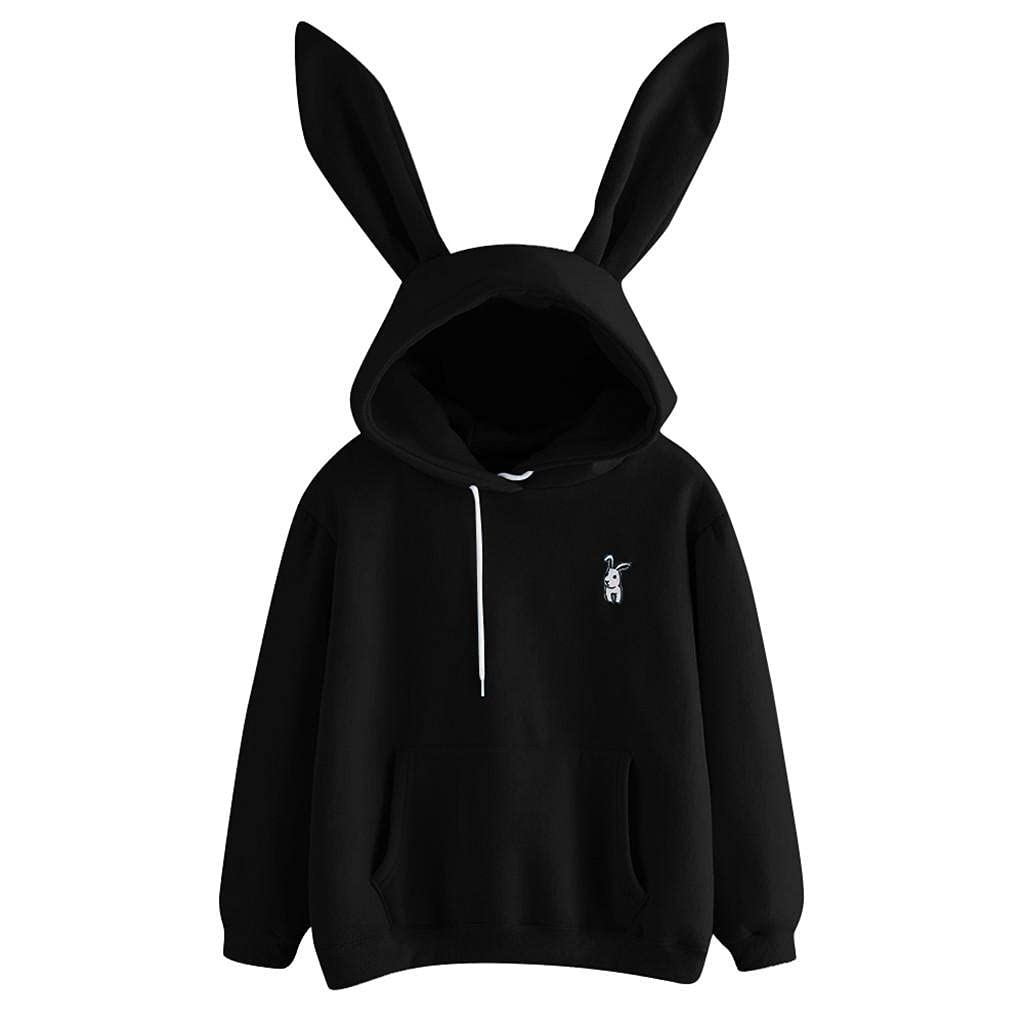 Padaleks Women's Long Sleeve Hoodie Sweatshirts Cute Girls Teen Bunny Hooded Pocket Pullover Shirts Fall Tops