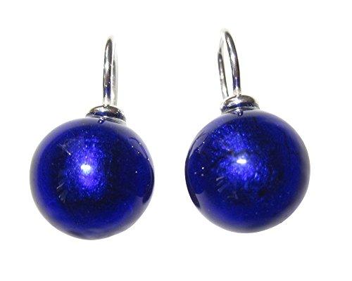 Ohr-Hänger Ohrringe Murano-Glas Perle dunkel-blau 12 mm Durchmesser rund Sterling-Silber 925-er Goldschmiede-Arbeit Unikat Handarbeit Mode