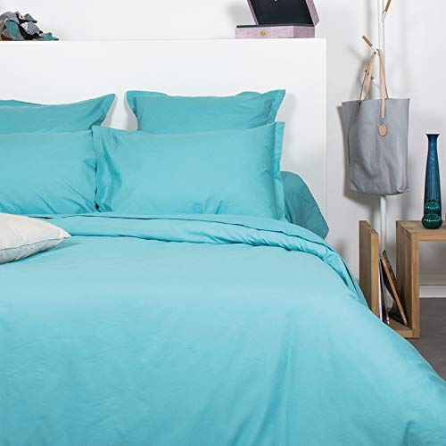 Comptoir des Tisseurs Parure de lit 100% Coton 2 Personnes Turquoise (240x220cm)
