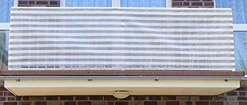 S&D Smart Deko 800x90cm Grau&Weiß Streifen Balkonsichtschutz, Balkonverkleidung, Windschutz, Sichtschutz und UV-Schutz für Balkon, Gartenanlagen, Camping und Freizeit (800x90cm)