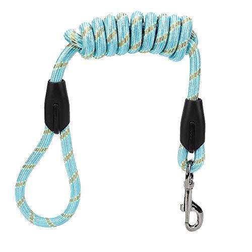 ViaGasaFamido Hundeleine, weiches, hochfestes Nylon-Haustierhundetraktionsseil für Hunde außerhalb der Gehhalle mit verchromter Schnalle aus Aluminium(Blau)