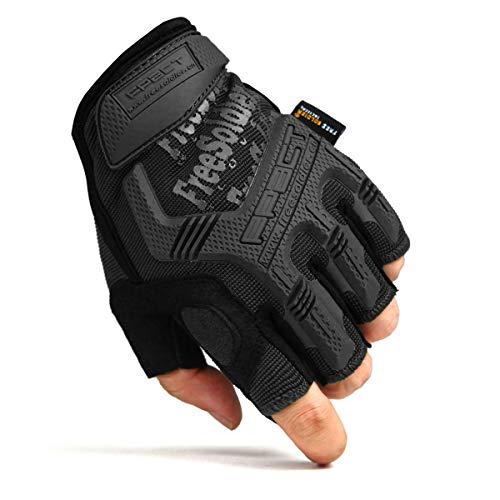 FREE SOLDIER Sport Handschuhe Taktische Motorradhandschuhe Herren Halbfinger Handschuhe mit gepolstertem Ideal für Fahrrad Airsoft Militär Paintball Kletter und andere Outdoor Aktivitäten Schwarz L