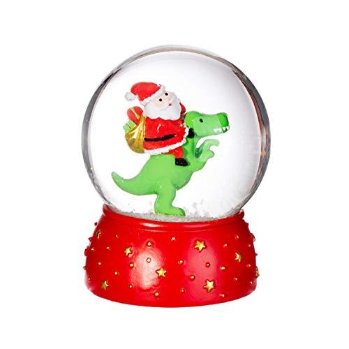 Sass & Belle - Dinosauro con Babbo Natale Snow Globe, XDCXM028