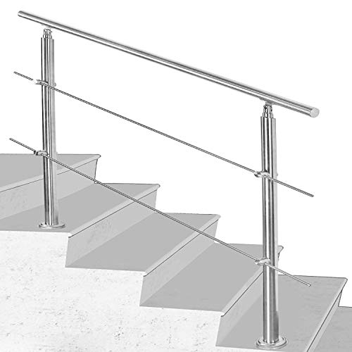 Hengda Handlauf Aluminium, Treppengeländer innen & außen, 120 cm, Ø 42mm, mit 2 Querstreben für den Garten,Treppenhaus innen, Hauseingang uvm