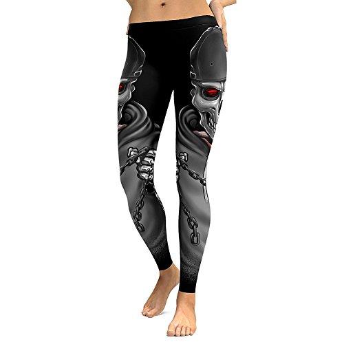Juleya Skinny Hose Damen Stretch Halloween Skelett Bedruckte Leggings Geist Gotisch Knochen Elastische Mittlere Muster Print Taille Fitness...
