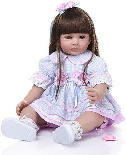 Pinky Reborn 24 Pulgadas 60cm Realista Muñecos bebé Renacer Bebé Hermosa Muñeca Silicona Bebe Reborn Toddler Niña Recien Nacido (Item 9) (Blue)