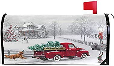 Wamika Winter Red Truck Snowflake Christmas Tree Mailbox Cover Magnetic Standard Size,Dog Cardinal Bird Letter Post Box Cover Wrap Decoration Welcome Home Garden Outdoor 21