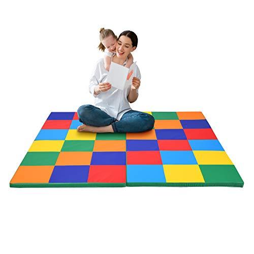 COSTWAY Tappeto da Fitness Pieghevole, Tappetino Gioco da Pavimento per Bambini, Materassino per Palestra, 147x147x3cm