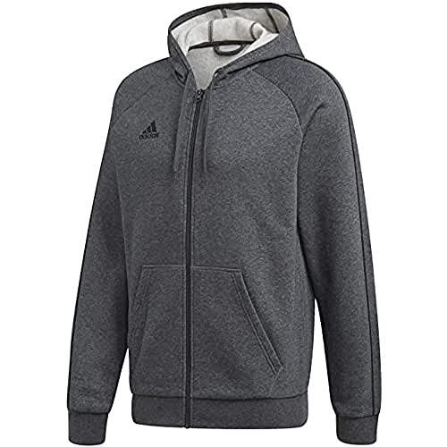 adidas Herren Core18 Full Zip Hoodie, Dgreyh/Black, L