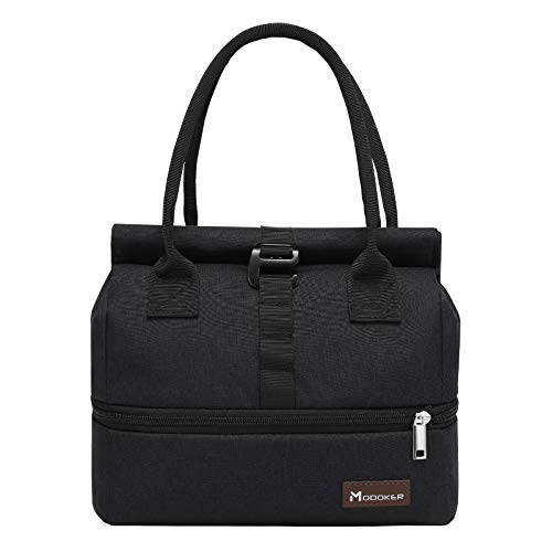 Modoker Expandable Lunch Bags for Women Men, Roll Top Insulated Lunch Tote, 5 Grid Loops for Adjusting the Size of the Bag, Large Lunch Box for Work School Picnics, Black
