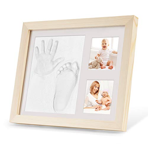 Orlegol Baby Handabdruck und Fußabdruck, Baby Holz Bilderrahmen mit Gipsabdruck, Baby Fuß- oder Hand-Abdruck Set, Baby Handprint Fussabdruck, Ideale Babyparty Geschenk - Erinnerungen für die Ewigkeit