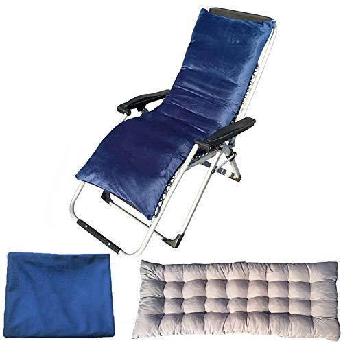 YuYiY Cojines para muebles de jardín con funda de terciopelo extraíble y lavable, cojines para tumbonas, cojines de asiento al aire libre, para sofá o silla reclinable (azul, 48 x 175 x 8 cm)