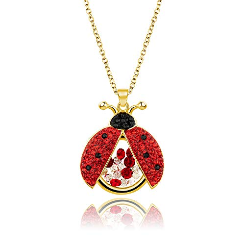Superchic Jewelry Cute Red and Black Ladybug Beetle Locket Pendant Necklace with Austrian Crystals and Floating Colorful Cubic Zirconia (Gold Plating)