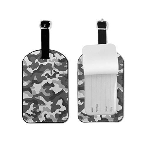 Etiqueta de equipaje gris camuflaje negro etiqueta de identificación de viaje cuero para equipaje maleta para mujeres y hombres 1 pieza
