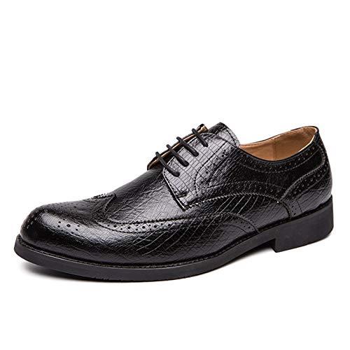 WZQDM Oxfords Vestido Zapatos para Hombres Burnish Toe Brogue Wing Tips Plaid 4-Eye Lace Up Block Tacón Semisnentético Cuero condón Suela (Color : Black, Size : 40 EU)