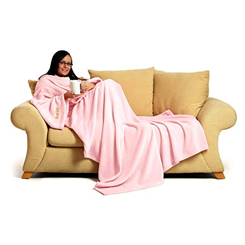Snug Rug, Deluxe-Decke mit Ärmeln, 260 g/m², kuschelig, superweiches Coral-Fleece, weicher Stoff, lange, übergroße Ärmel, mit Tasche, für Erwachsene rosafarbene Quartzsteine