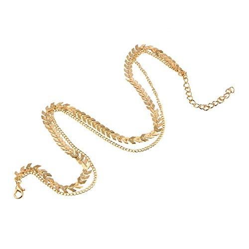 HXSZWJJ Cadena de dos capas Collares de espina de pez en forma de avión de color dorado, joyería de cadena plana (color metálico: oro)
