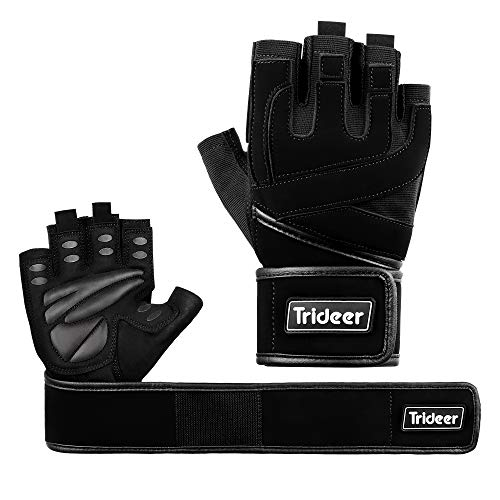 Trideer Padded Anti-Slip Weight Lifting Gloves with 18' Wrist Wraps, Pro Gym Gloves Support for Weightlifting, Cross Training, Gym Workout