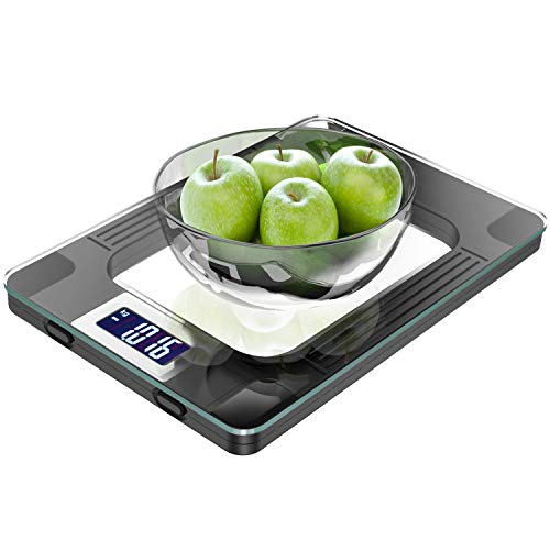 Küchenwaage, Digitale Küchenwaage mit hochsensiblem LCD Display zur genauen Gramm Abmessung - Profi Haushaltswaage mit großer Wiegefläche & modernem Design - Maximalgewicht 15 Kg Inkl Batterien