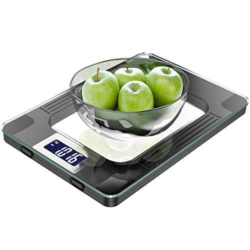 Küchenwaage, Digitale Küchenwaage mit Hochsensiblem LCD Display zur Genauen Gramm Abmessung - Profi Haushaltswaage mit Großer Wiegefläche und Modernem Design - Maximalgewicht 15 Kg inkl Batterien