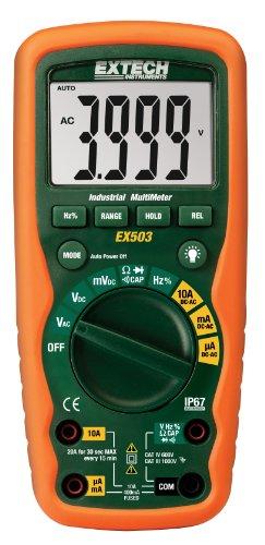 Extech EX503 Multímetro industrial de 600 V CAT IV con diseño robusto a prueba de agua (IP67) para uso rudo