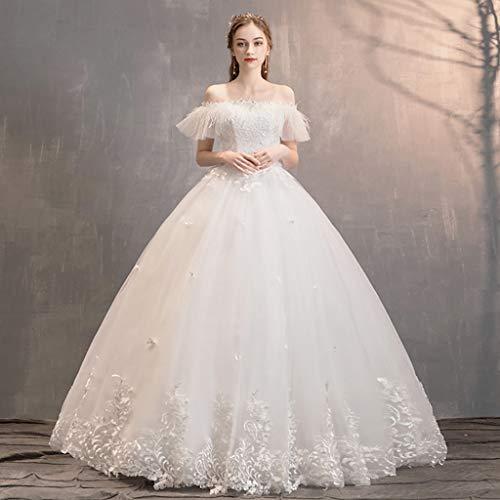 Braut Brautkleider Prinzessin-wie Temperament Elegante Und Luxuriöse Federn Ärmel Brautkleider, Abendkleid 6 US