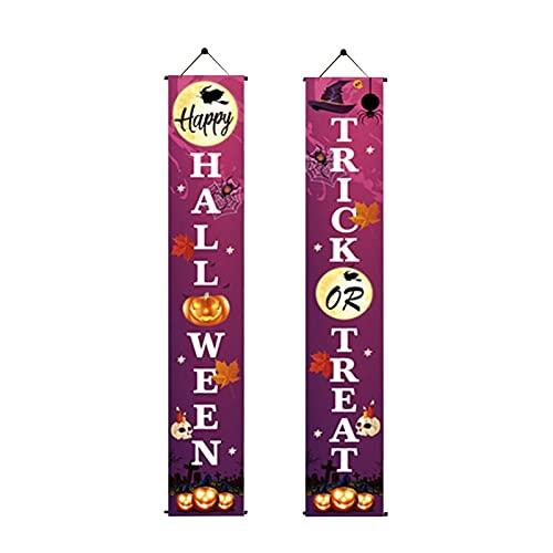 Pomrone Halloween Dekorationen Haustür Banner Flagge Süßes Oder Saures Couplet Zeichen Für Halloween Party Outdoor Indoor Home Office Tür Wand Willkommen Dekorationen
