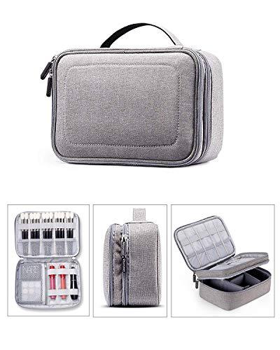 Rownyeon 3 Schichten wasserdichte Kosmetiktasche Kosmetiktaschen Reiseveranstalter Mini Train Case mit verstellbaren Trennwänden für Kosmetik-Make-up-Pinsel Kulturartikel Schmuckzubehör