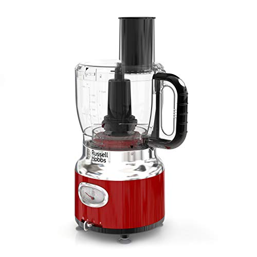 Russell Hobbs FP3100RDR Retro Style Food Processor, 8-Cup (64-oz) Capacity, Red