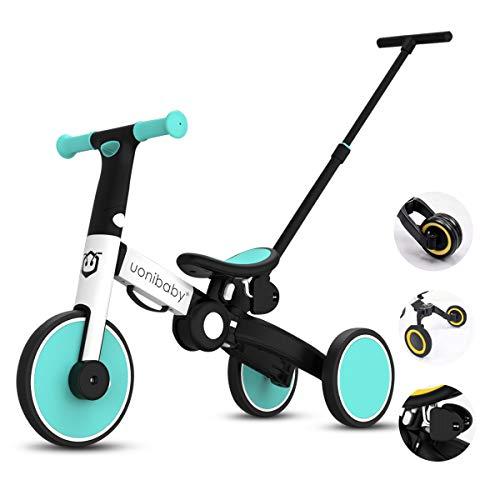 OLYSPM Balance Bike 5 in 1 per Bambini,Bicicletta Senza Pedali,Triciclo Senza Pedali,Pieghevole Maniglione,per 1.5-5 Anni Baby Boys Girls,Altezza del Sedile Regolabile(Azzurro)