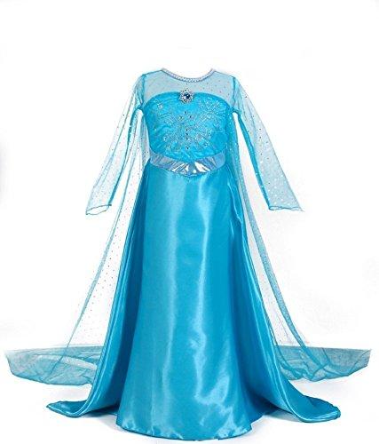 URAQT Elsa Costume, per Bimba con Vestito Lungo Compleanno, Elsa Costume di Cosplay Party Halloween Costume Abito delle Ragazze di Natale Vestito Fantasia 130cm