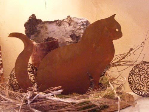 Rostikal Rost Deko Wohnzimmer Katze 25 cm Gartendeko Vintage Dekofigur Garten Dekoration Shabby Chic