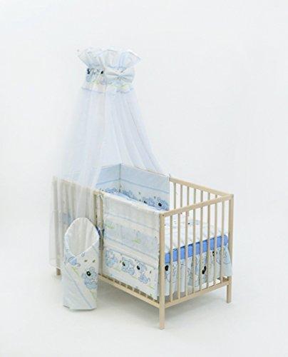 Velinda 13-tlg. Baby-Bettwäsche-Set Decke 150x120 Bettzeug Bettbezug für Babybett 140x70 (Muster: Hund mit Knochen_puderblau)