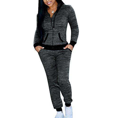 Femmes Survêtement Suit - Manche Longue Fermeture Eclair Pull à Capuche + Pantalon avec Poches Casual Sports Jogging Ensemble de Sportswear 2pcs