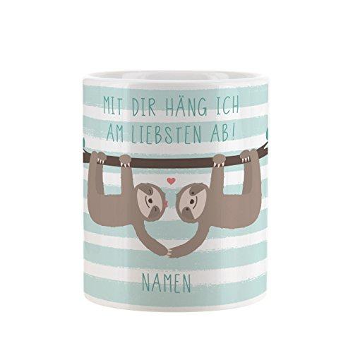 Herz & Heim® Tasse mit Faultier Paar - Mit dir häng ich am liebsten ab! - mit Aufdruck der Namen der Liebenden