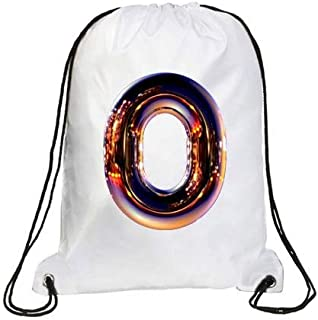 IMPRESS Drawstring Sports Backpack White with Night Chrome Letter O