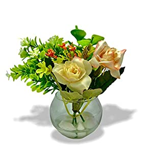 Always Spring   Artificial Flowers in Glass Vase with Faux Water and White Pebbles for Home Office Restaurant Decoration, Party and Dining Table Centerpiece, Kitchen Countertop Décor
