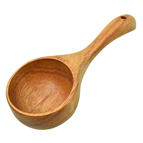 Monrocco Solid Wood Water Scoop Spoon Multipurpose Wooden Scoop Spoon Ladle Dipper Kitchen Utensil