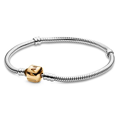 """PANDORA Jewelry Moments Snake Chain Charm Sterling Silver and 14K Yellow Gold Bracelet, 7.5"""""""
