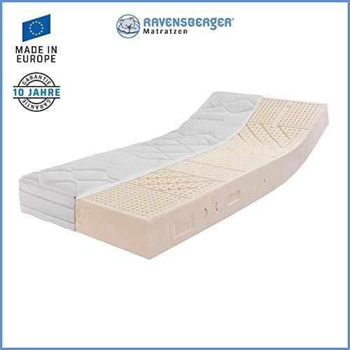RAVENSBERGER Ergo-Natura® 100 | Latexmatratze 100% Naturkautschuk | 7-Zonen Komfortmatratze | H2 RG 70 (45-80 kg) | Made in Germany | Baumwoll-Doppeltuch Bezug | 90 x 200 cm