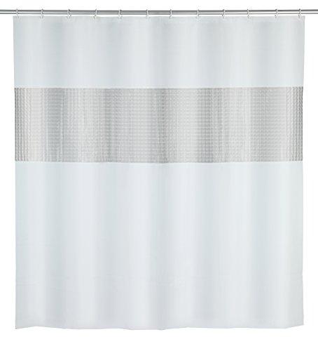 WENKO Duschvorhang Frame - mit 3D-Effekt, wasserdicht, leicht zu pflegen, Polyethylen-Vinylacetat, 180 x 200 cm