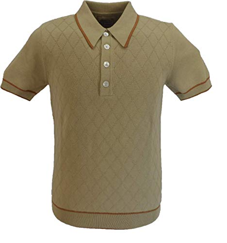 Photo of Mens Diamond Front Fine Gauge Knitted Polo Shirts (Medium, Sand)