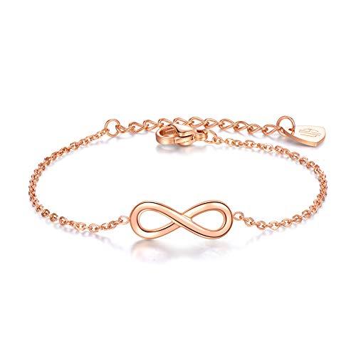 URBANHELDEN - Armband Endless - Hochwertiger Armschmuck - Edelstahl Armkette mit Unendlichkeitszeichen - Damenarmband Schmuck - Infinity - Rosegold