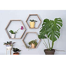 Hexagon floating wood  rustic shelves wall decoration