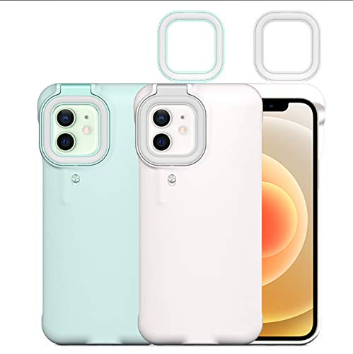 Flashlight Selfie Ring Light Up Pop Led iPhone 12/12Pro Case GeewThioun 3 Ring Light Modes Luminous Rechargeable Flip Cover for Women(White, iPhone 12/12Pro)