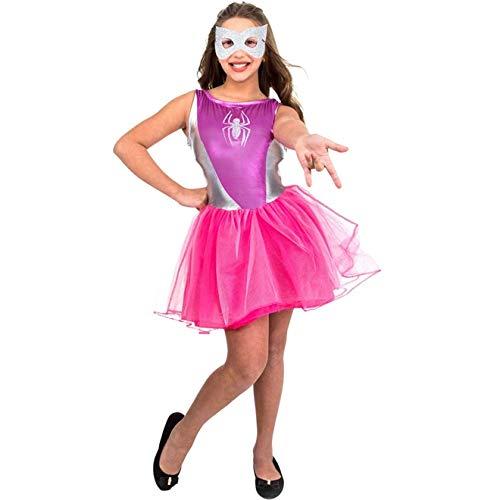 Fantasia Homem Aranha Rosa Feminina Infantil P 2-4