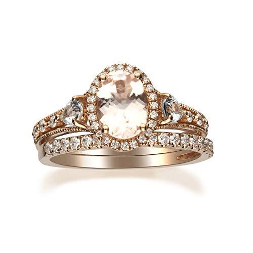 Gin & Grace Oro de 14K Rose Morganita natural, diamantes y aguamarina (I1, I2) Conjunto de novia (Tamaño 6) Proponer la promesa anillo para las mujeres